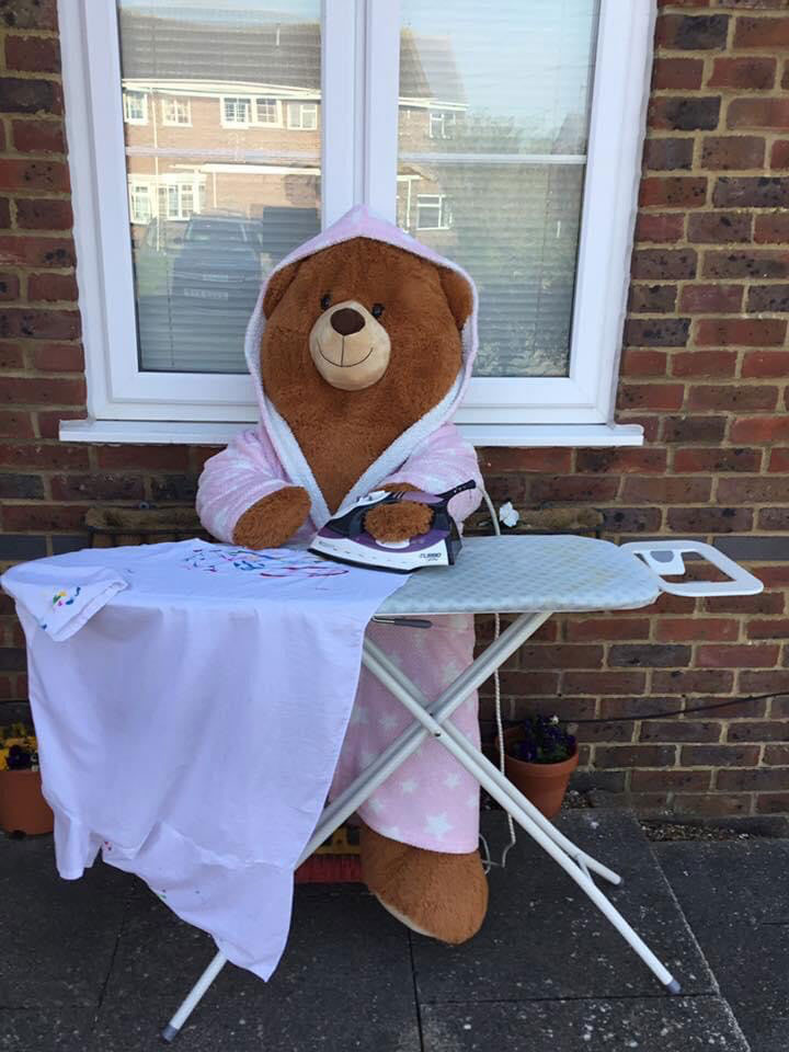 teddy doing the ironing