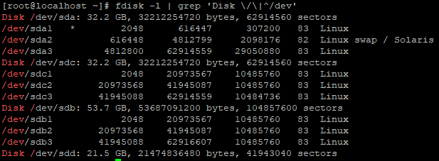 Physical and Logical disks info in the server:
