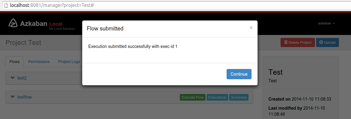 Execution submitted