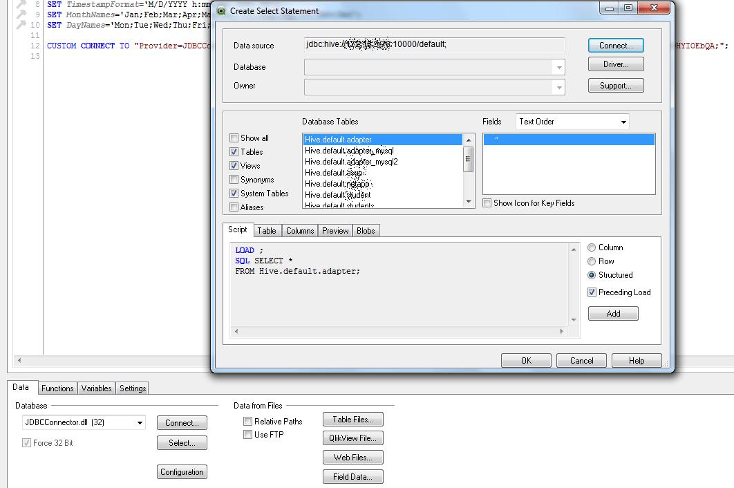 Hive default database tables