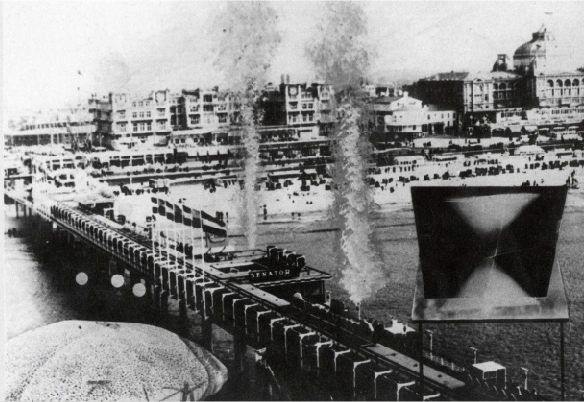 Henk Peeters, Zero on Sea, photo montage of Scheveningen Pier, the Netherlands (on view are Yves Klein Fountain of Fire and Akira Kanayama, Balloon), 1965