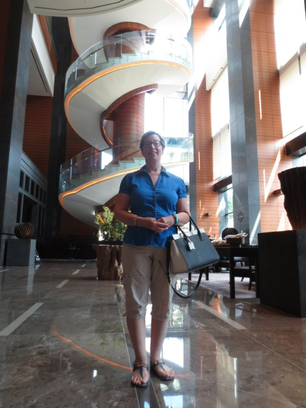 Me in the lobby, spiral staircase in background