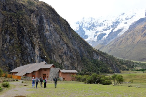 Approaching Salkantay Lodge for our first night
