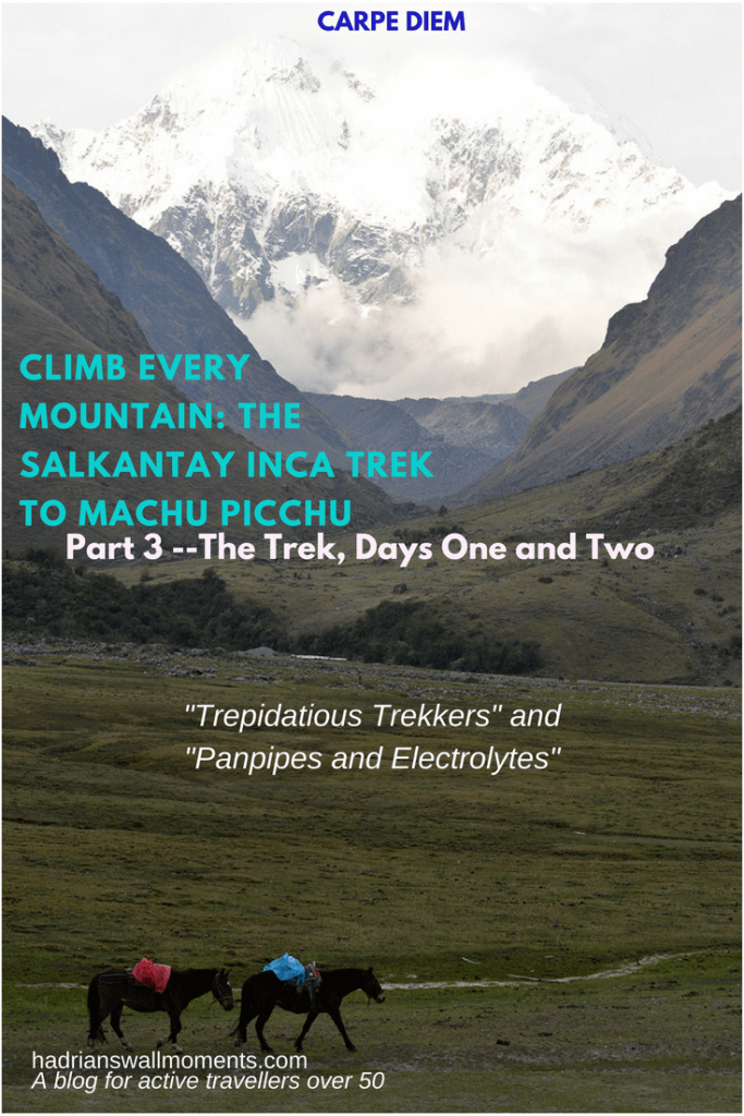 Climb Every Mountain: The Salkantay Inca Trek to Machu Picchu, Part 3, The Trek, Days One and Two Hadrianswallmoments
