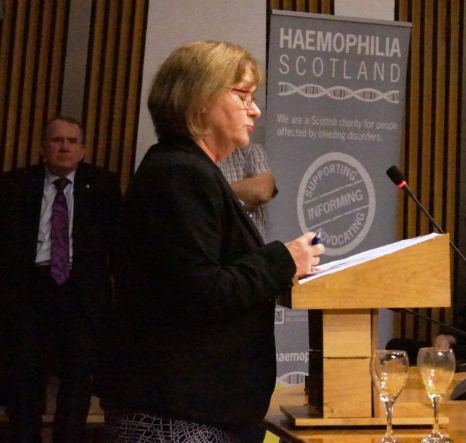 Maureen Watt MSP, Minister for Public Health, addressing the Richard Lyle MSP (also pictured) event for Haemophilia Scotland and The Hepatitis C Trust.
