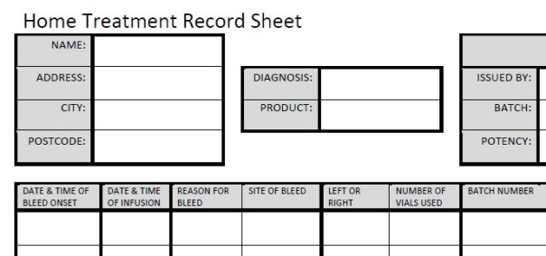 An Example Home Treatment Record Sheet. You should use the sheets issued by your own Centre whenever possible.