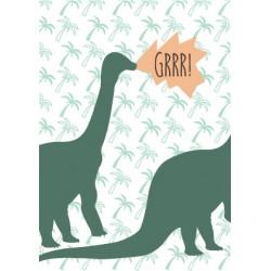 8 invitations anniversaire dinosaure happy family