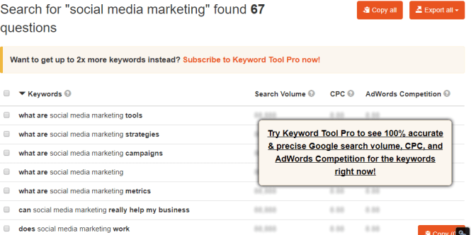 KeywordTool.io - Social Media Seed Keyword