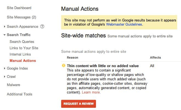 Hafiz Muhammad Ali-SEO Webmaster Tools Manual Actions