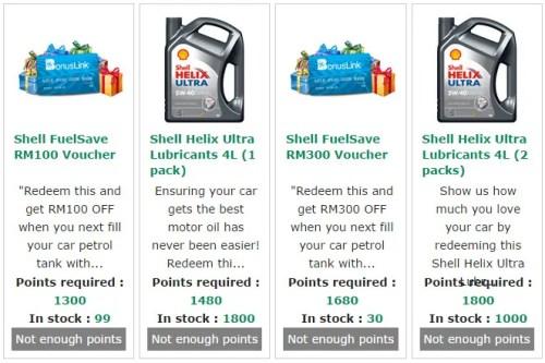 Shell FuelSave rewards redeem point