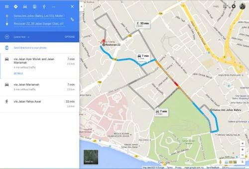 Map ke Restoran Sup Tulang ZZ JB
