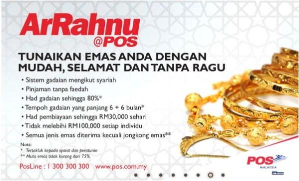 Ar Rahnu POS: Beli emas dan ambil dari cawangan POS Ar Rahnu terdekat!