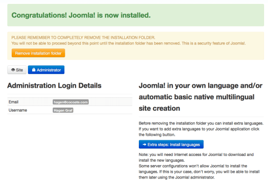 Figure 11: Joomla! is now installed