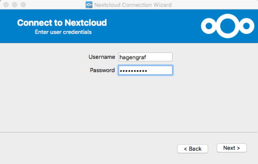 Nextcloud Connection Wizard - User Credentials
