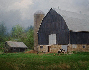"""A Cheerful Day in Gray"" 24x30 oil painting of a barn and silo by William Hagerman. Copyright May 2013"