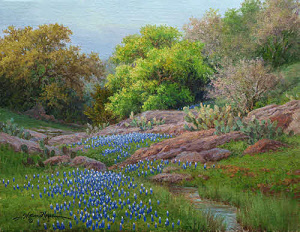Evening Bluebonnets 11x14 oil painting by William Hagerman copyright 2013