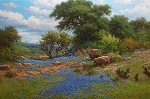 Lonestar Spring 24x36 bluebonnet oil painting by William Hagerman copyright 2013