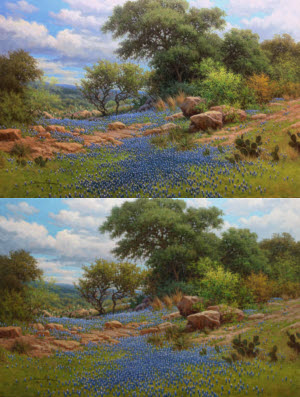 Painting Comparison showing composition change