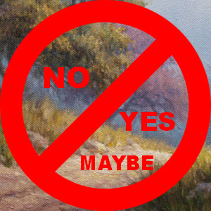 No Yes Maybe sign with art work background