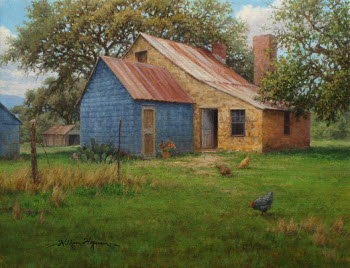 "Old stone farmhouse with chickens and oil painting titled ""An Open Door"" by William Hagerman copyright 2013"