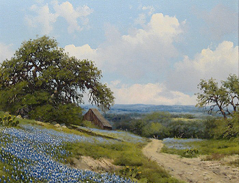bluebonnet painting with barn by W.A. Slaughter