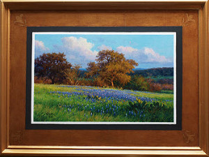 Bluebonnet oil painting by Byron with a custom illusion frame