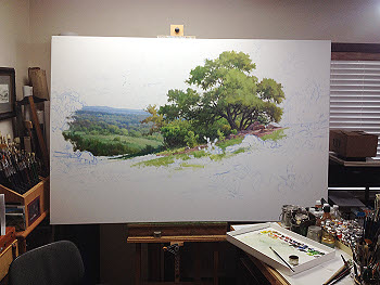 oil painting demo a Texas landscapae with bluebonnets step two