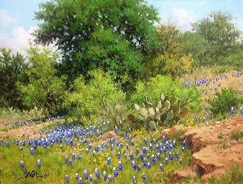 landscape bluebonnet oil painting with cactus by William Hagerman