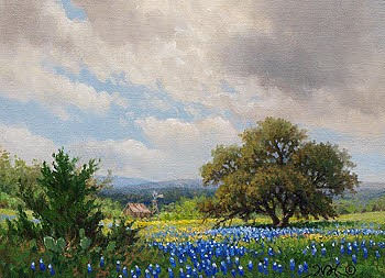 landscape bluebonnet oil painting with barn windmill by William Hagerman