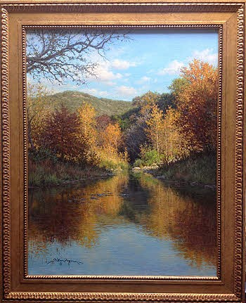 Landscape oil painting autumn water reflections by William Hagerman