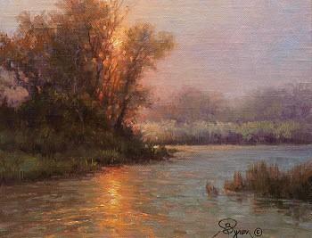 oil painting landscape river stream sun reflection