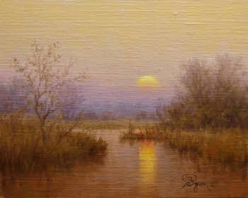 landscape oil painting foggy sunrise reflections in water