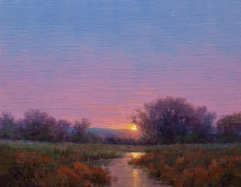 impressionism oil painting sunset with water reflection by Byron
