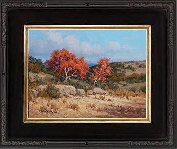 Texas hill counntry autumn spanish oaks landscape oil painting