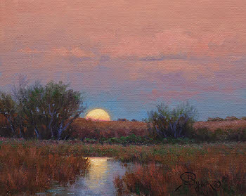 moon rise oil painting by Byron