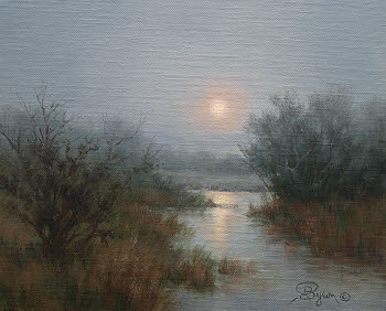 Misty moon oil painting by Byron
