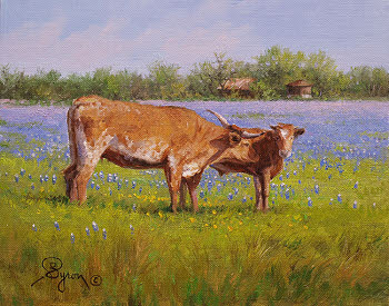 Bluebonnet oil painting with Texas Longhorn cow and calf by Byron
