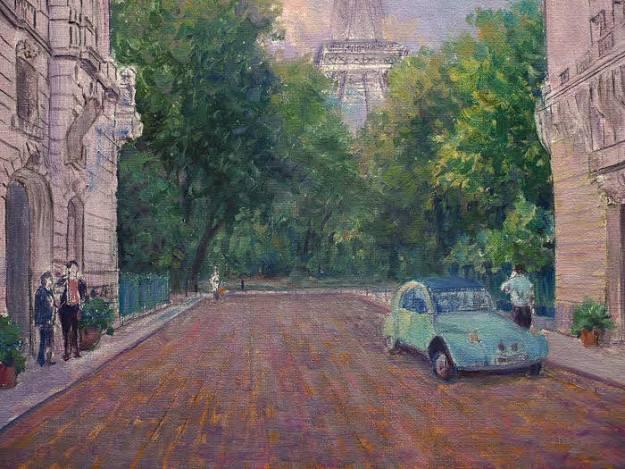 oil painting demo paris france street scene