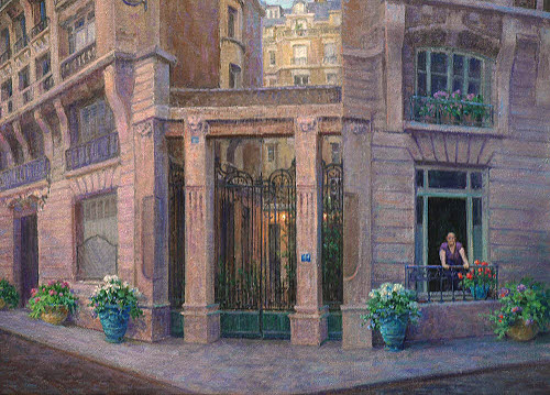 oil painting demo of paris france detail