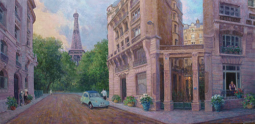 Paris France oil painting demo