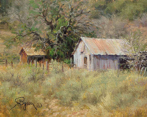 landscape oil painting old tin barn in New Mexico by Byron