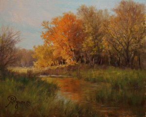 autumn landscape oil painting wtih stream and trees