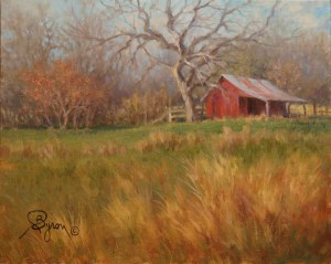 Old Red Barn landscape oil painting by William Byron Hagerman
