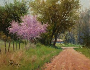 red bud tree oil painting with road and barn by William Byron Hagerman eBay oil painting