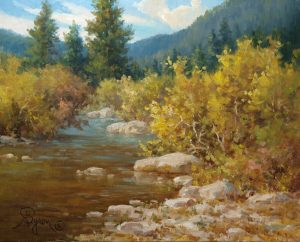 impressionist landscape oil painting autumn mountain stream by artist William Byron Hagerman