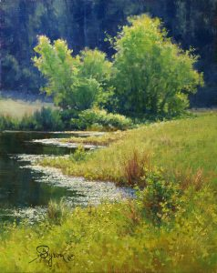 colorful impressionist landscape oil painting water reflections by artist William Byron Hagerman
