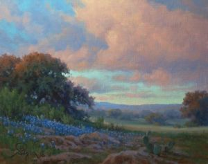 William Byron Hagerman landscape oil painting bluebonnets at sunset