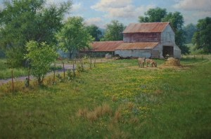 Lunchtime 20x30 realistic landscape oil painting old barns and donkeys by William Hagerman