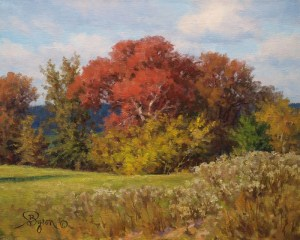 impressionist autumn landscape oil painting by Byron