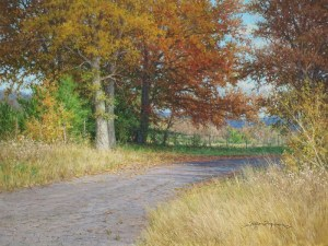Return of Autumn 18x24 original realistic landscape painting autumn trees and road by William Hagerman